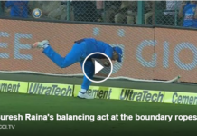 Suresh Raina took an awesome catch at the boundary to dismiss Ben stokes